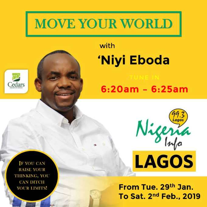 Join Move your World with Niyi Eboda @99.3fm Don't miss it!